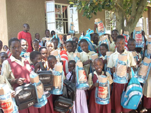 sponsored kids at Busia school receiving their Christmas gifts